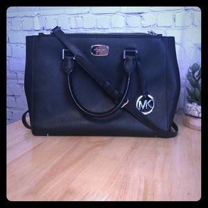 Michael Kors Sutton black bag with silver hardware